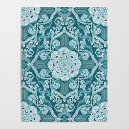 Centered Lace - Teal  Poster