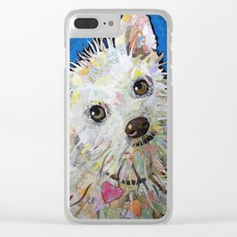 Dog with blue background Clear iPhone Case