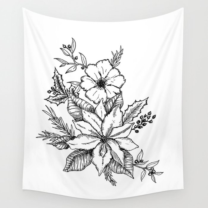 Poinsettia Florals & Winter Berries Wall Tapestry