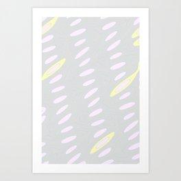 Geo Flow Gray Pink Yellow Art Print