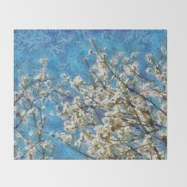 Blossom and Blue Sky In Monet Style Throw Blanket