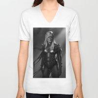 batgirl V-neck T-shirts featuring Batgirl by Emile Denis