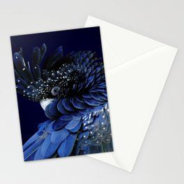 Australian Red-Tailed Black Cockatoo in Blue Stationery Cards