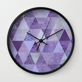 Glamorous Purple Faux Glitter And Foil Triangles Wall Clock