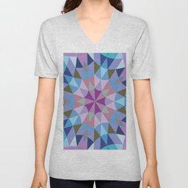 Retro Geometry Mandala Lavender Blue Unisex V-Neck