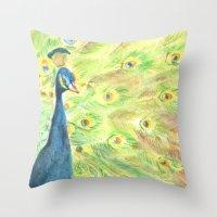 peacock Throw Pillows featuring Peacock by Annie Mason