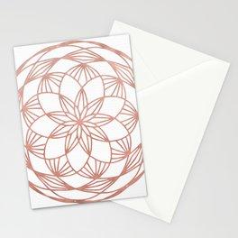 Rose Gold Mandala Flower on White II Stationery Cards