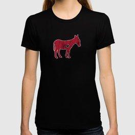 I Love Donkey Rider Jackass Mule Funny Democrat Jockey Red T-shirt