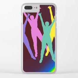 joyful man and rainbow . Art Clear iPhone Case