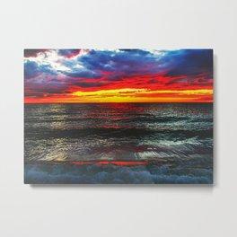 Sunset On Lake Michigan Metal Print
