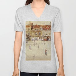 Chelsea Shops By James Mcneill Whistler | Reproduction Unisex V-Neck