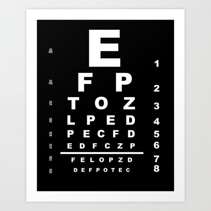 Inverted Eye Test Chart Art Print By Homestead Society6