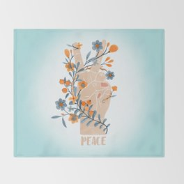 Peace Sign With Orange Flowers, Blue Flowers And Vines Throw Blanket