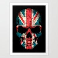 british flag Art Prints featuring British Flag Skull on Black by Jeff Bartels