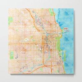 Chicago watercolor map design Metal Print