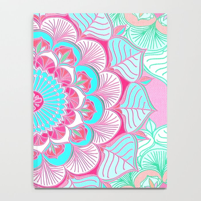 Tropical Bloom - floral doodle in pink, mint, peach, aqua, white Notebook