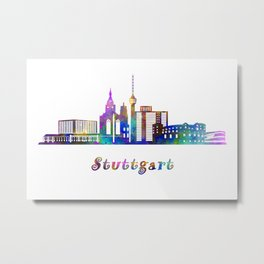 Stuttgart skyline landmarks in watercolor Metal Print