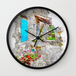 Aquarelle sketch art. Town cobbled street view, region of Istria, Croatia Wall Clock