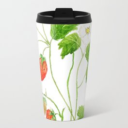 strawberry and strawberry flowers watercolor painting Travel Mug