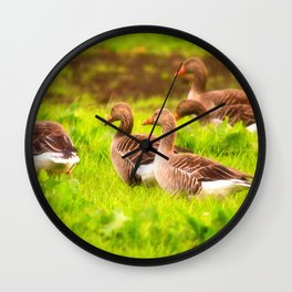 Wild geese in the march Wall Clock