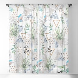 Geometric with cactus and butterflies Sheer Curtain