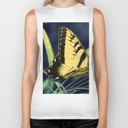 Yellow Tiger Swallowtail Butterfly A125 Biker Tank
