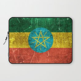 Vintage Aged and Scratched Ethiopian Flag Laptop Sleeve