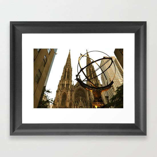 Atlas Statue and St. Patrick's (Color) Framed Art Print