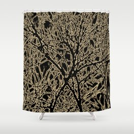 Tangled Tree Branches in Black and Sepia Shower Curtain