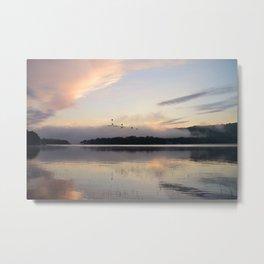 Lifting Up: Geese Rise at Dawn on Lake George Metal Print