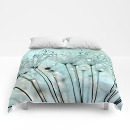 Pretty Water Droplets Ice Blue Comforters