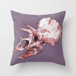 Triceratops - Dinosaur Fossil Skull Throw Pillow
