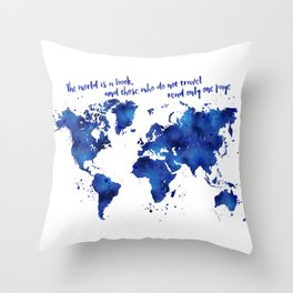 The world is a book, world map in shades of blue watercolor Throw Pillow