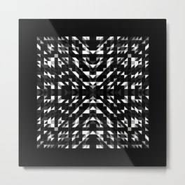 ONYX square black and white prismatic design with black border Metal Print