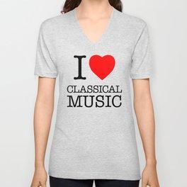 I Love Classical Music Unisex V-Neck
