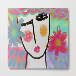 Woman with Flowers Abstract Digital Painting Metal Print