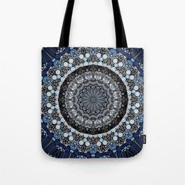 Dark Blue Grey Mandala Design Tote Bag