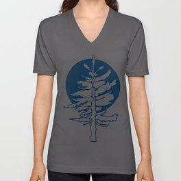 Evergreen Tree in the Moonlight Unisex V-Neck