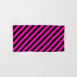Bright Hot Neon Pink and Black Candy Cane Stripes Hand & Bath Towel