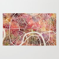 moscow Area & Throw Rugs featuring Moscow Map by MapMapMaps.Watercolors