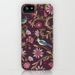 Colorful Folk Birds and Flowers Pattern in burgundy iPhone Case