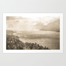 Water - Vintage Sepia Cape Horn Columbia River Gorge Art Print