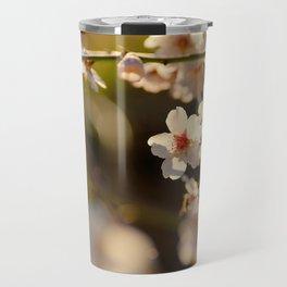 Winter spring. Almond flowers Travel Mug