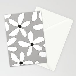 Happy flowers Gray Stationery Cards