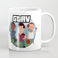grand theft auto Mugs featuring Grand Theft Auto V Cartoon by Aaron Lecours