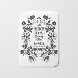 Freedom & Books & Flowers & Moon Bath Mat