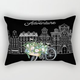 Enjoy the Adventure City and Bicycle on Black Background Rectangular Pillow