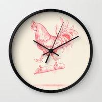 cock Wall Clocks featuring Cock Flip by Sarah Kamada