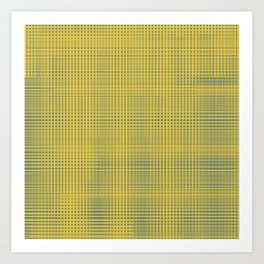 6922d68c3f8a Blue squares becomes tiles on yellow background Art Print