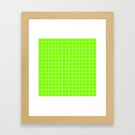 Chartreuse (web) - green color - White Lines Grid Pattern Framed Art Print